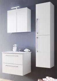Badmöbel Intenso in Hochglanz weiß Lack Set 4-teilig Waschtisch inkl. Waschbecken 110 cm
