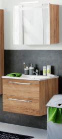 Badmöbel Intenso in Eiche Trüffel Set 3-teilig 60 cm Spiegelschrank und Waschtisch inkl. Waschbecken
