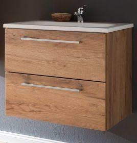 Waschbeckenunterschrank inkl. Waschbecken Eiche Trüffel Melamin 60 cm Intenso