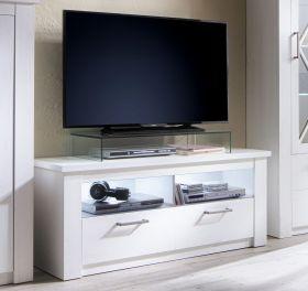 TV-Lowboard Georgia in Pinie Struktur weiß Dekor Unterteil 139 x 58 cm Fernsehtisch im Landhausstil