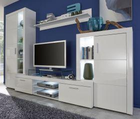 Wohnwand Kito in weiß Hochglanz 4-teilig 291 x 197 cm inkl. LED Beleuchtung