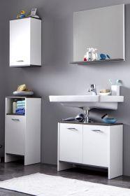 Badmöbel Set California 4-teilig in weiß und Sardegna grau Rauchsilber 112 x 180 cm Badkombination