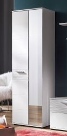 Garderobenschrank Ice in Hochglanz weiß mit Rillenoptik 61 x 190 cm Garderobe oder Schuhschrank