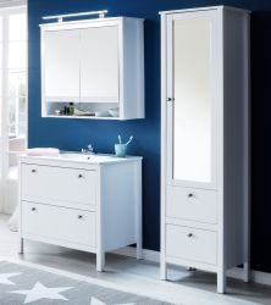 Badmöbel Set Ole weiß 4-teilig mit Unterschrank Keramik-Waschbecken Spiegelschrank und Hochschrank mit Spiegeltür