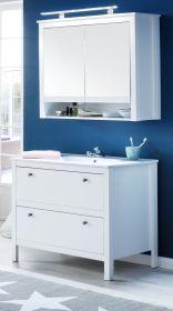 Badmöbel Set Ole weiß 3-teilig Badezimmer mit Unterschrank Keramik-Waschbecken und Spiegelschrank  81 x 192 cm