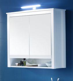 Spiegelschrank Badmöbel Ole weiß inkl. LED Aufsatzleuchte 81 x 80 cm
