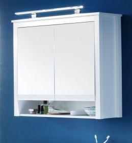 Spiegelschrank Ole in weiß 81 x 80 cm im Landhausstil mit LED Lampe optional