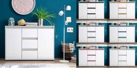 Sideboard Anrichte Sol in Lack Hochglanz weiß und Alteiche Dekor Kommode 119 x 84 cm