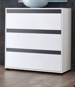 Kommode Sol Lack Hochglanz weiß und grau Schubkastenkommode 80 x 84 cm
