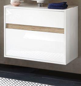 Waschbeckenunterschrank Hängeschrank Sol Hochglanz weiß Lack und Alteiche 67x52 cm