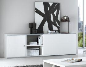 Sideboard Dekor Lack weiß matt mit Schiebetür Breite 241 cm