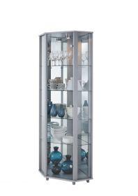 Eckvitrine Glasvitrine Silber mit Spiegelrückwand und Beleuchtung