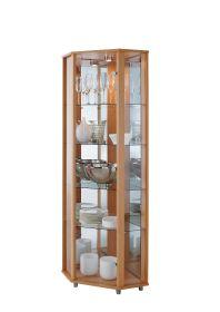 Eckvitrine Glasvitrine Buche mit Spiegelrückwand und Beleuchtung