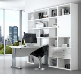 Bürowand/Sektretär mit Einbauschreibtisch in Lack weiß matt Breite 245 cm
