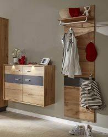 Flur Garderobe Coast Wotan Eiche Dekor und grau Melamin Garderoben Set 2-teilig 155 cm inkl. Beleuchtung