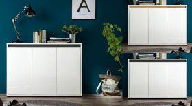 Sideboard Sol in Hochglanz weiß Lack mit Absetzung in 2 verschiedenen Farben Anrichte 3-türig 119 x 84 cm