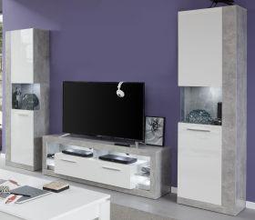 Wohnwand Rock in weiß Hochglanz und Stone Design grau Schrankwand 3-teilig 290 x 186 cm