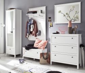 Garderobenset 5-teilig weiß Garderobenkombination Ole mit Schuhbank und Schrank 270 cm