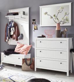 Garderoben Set Ole 4-teilig in weiß mit Schuhbank Kommode und Spiegel