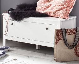 Sitzbank Garderobe Ole in weiß mit Stauraum 91 x 45 cm