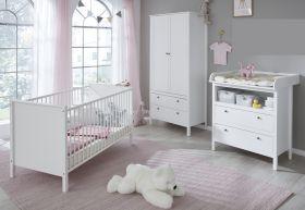 Babyzimmer Set Ole in weiß im Landhausstil 3-teilig mit Schrank, Bett und Wickelkommode