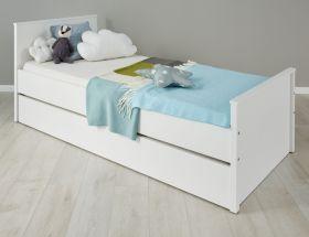 Jugendzimmer Jugendbett Ole in weiß inklusive Bettkasten als Gästebett Liegefläche 90 x 200 cm