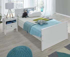 Jugendzimmer Ole in weiß Set 2-teilig Jugendbett Liegefläche 90 x 200 cm mit Nachtkommode