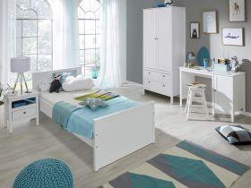 Jugendzimmer komplett Set Ole 4-teilig in weiß mit Bett Schrank Schreibtisch und Nachtkommode