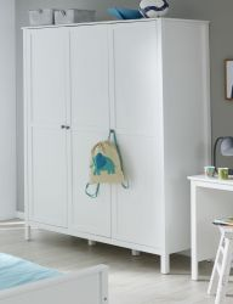 Baby- und Jugendzimmer Kleiderschrank Ole in weiß 3-türig 141 x 192 cm
