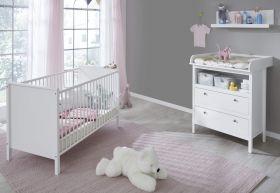 Babyzimmer Ole komplett Set 3-teilig weiß mit Wickelkommode Babybett und Wandregal