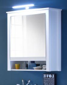 Spiegelschrank Badmöbel Ole in weiß 62 x 80 cm optional mit LED Aufsatzleuchte