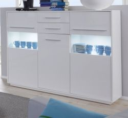Highboard Kommode Kuba in weiß Glanz 150 x 123 cm