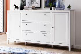 Sideboard Ole in weiß 183 x 98 cm mit drei Schubladen und zwei Türen