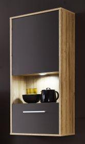 Hängevitrine Kuba in grau Glanz und Alt Eiche Hängeschrank 50 x 112 cm