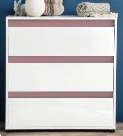 Kommode Sol in Lack Hochglanz weiß und altrosa Schubkastenkommode 80 x 84 cm rosa