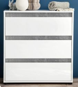 Kommode Sol in Lack Hochglanz weiß und Stone Dekor Schubkastenkommode 80 x 84 cm Beton grau
