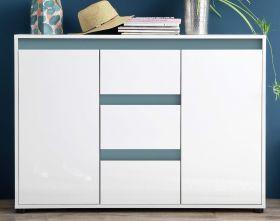 Sideboard Anrichte Sol in Lack Hochglanz weiß und mintgrün Kommode 119 x 84 cm grün