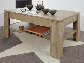 Couchtisch in Bramberg Fichte 110 x 65 cm Holztisch mit Ablage