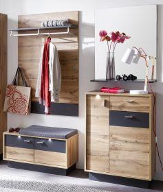 Flur Garderobe Coast Wotan Eiche Dekor und grau Melamin Garderoben Set 4-teilig 190 cm inkl. Beleuchtung