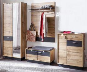 Flur Garderobe Coast Wotan Eiche Dekor und grau Melamin Garderoben Set 4-teilig 252 cm inkl. Beleuchtung