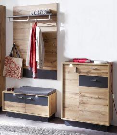 Flur Garderobe Coast Wotan Eiche Dekor und grau Melamin Garderoben Set 3-teilig 168 cm inkl. Beleuchtung