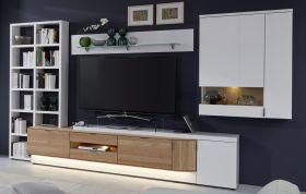 Wohnwand Ventus weiß matt Lack und Eiche Bianco massiv Schrankwand mit Bücherregal links 4-teilig 348 x 204 cm