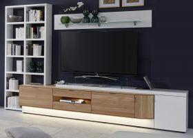 Wohnwand Ventus weiß matt Lack und Eiche Bianco massiv Schrankwand mit Bücherregal links 3-teilig 304 x 204 cm