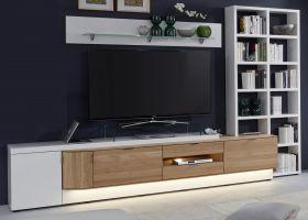 Wohnwand Ventus weiß matt Lack und Eiche Bianco massiv Schrankwand mit Bücherregal rechts 3-teilig 304 x 204 cm