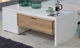 Couchtisch Ventus weiß matt Lack und Eiche Bianco massiv Wohnzimmertisch mit Schublade 120 x 42 cm