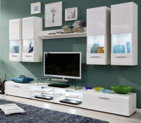 Wohnwand Lunas in Hochglanz weiß 7-teilig Schrankwand 270 x 183 cm
