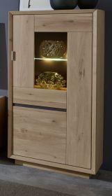 Vitrine Minero in Eiche Bianco massiv geölt / gewachst und Anthrazit Vitrinenschrank 67 x 144 cm