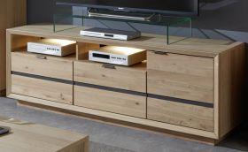 TV-Lowboard Minero in Eiche Bianco massiv geölt / gewachst und Anthrazit TV-Unterteil 159 x 58 cm