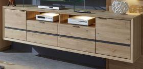 TV-Hänge-Lowboard Minero in Eiche Bianco massiv geölt / gewachst und Anthrazit TV-Unterteil 202 x 51 cm