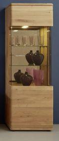 Vitrine Savona in Asteiche Bianco massiv geölt / gewachst Türanschlag rechts Vitrinenschrank 61 x 207 cm